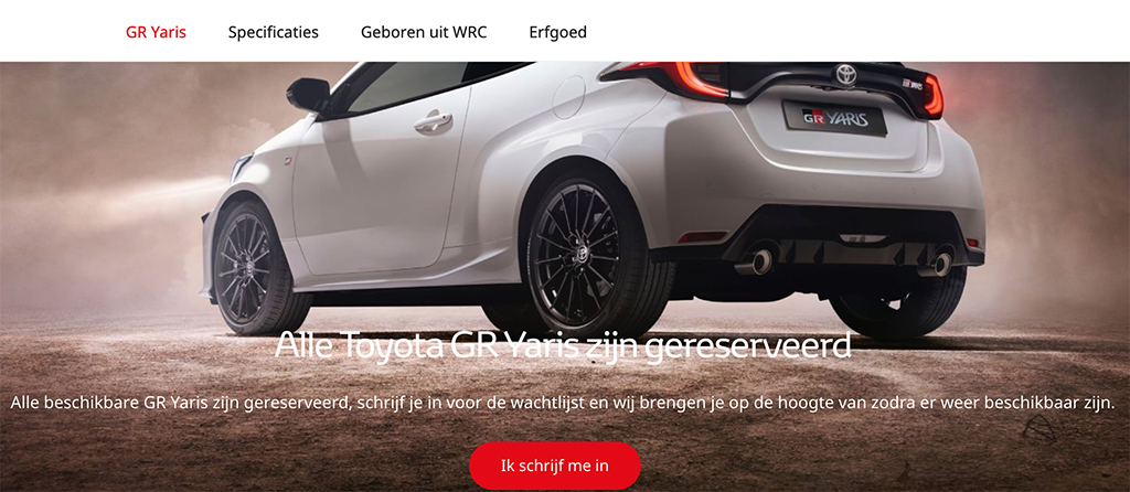 Toyota GR Yaris reeds uitverkocht?