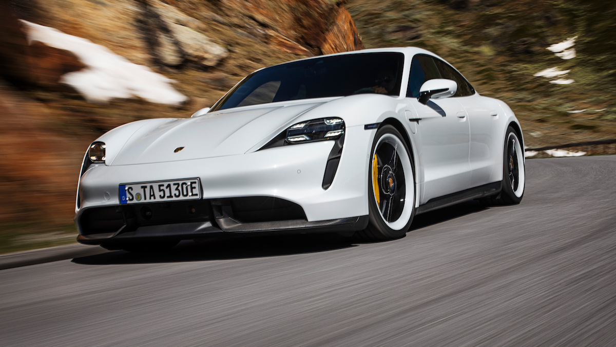 Porsche Taycan road action 2021