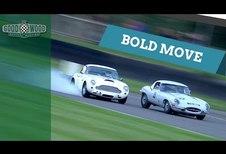 Une Aston Martin DB4 GT et une Jaguar E-Type en bagarre