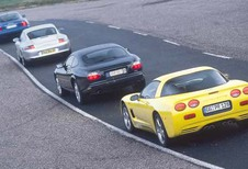 Chevrolet Corvette C5, Jaguar XKR, Maserati Coupé GT & Porsche 911 Carrera: Carré d'as