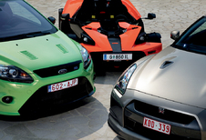Ford Focus RS, KTM X-Bow & Nissan GT-R : Trio van azen