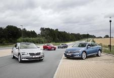 Ford Mondeo 2.0 TDCi 180, Mazda 6 SkyActiv-D 175, Skoda Superb 2.0 CRTDI 190 et Volkswagen Passat 2.0 TDI 190