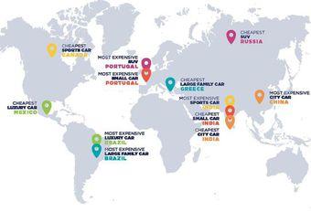 Autoprijzen: de duurste en goedkoopste landen #1