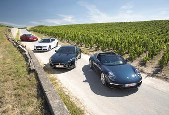 Audi RS5, BMW M4, Jaguar F-Type S en Porsche 911 Targa 4S : Downsizing #1