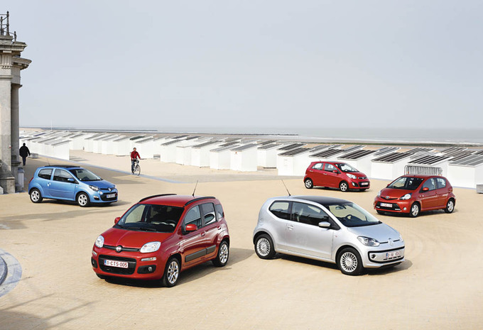 Fiat Panda TwinAir 85, Kia Picanto 1.0, Renault Twingo 1.2, Toyota Aygo 1.0 VVT-i en Volkswagen Up 1.0 60 : Springtij #1