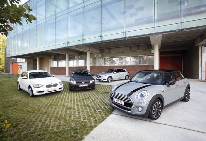 BMW 1-Reeks, Mercedes A-Klasse, Mini 5-deurs en Volkswagen Golf : Grootheidswaanzin?  #1